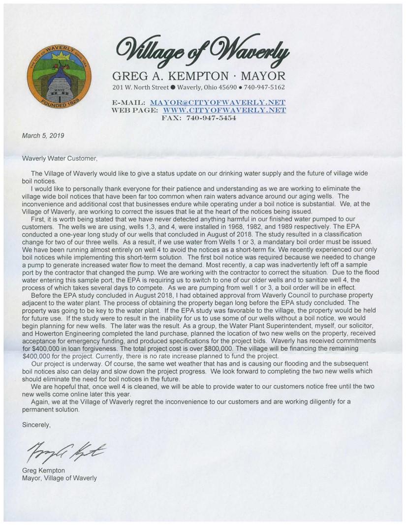 Boil Notice Letter 2019